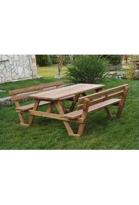 Tekzen Sırt Dayamalı Piknik Masası 6 Kişilik Renk Kahverengi