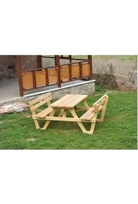 Tekzen Sırt Dayamalı Piknik Masası 6 Kişilik Renk Naturel