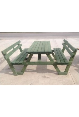 Tekzen Sırt Dayamalı Piknik Masası 6 Kişilik Renk Yeşil