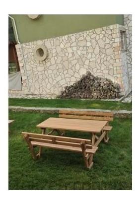 Tekzen Sırt Dayamalı Piknik Masası 8 Kişilik Renk Kahverengi