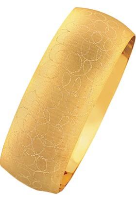 Bilezikhane 14 Ayar Altın Mega Bilezik 25 Gram Desenli Simli Model