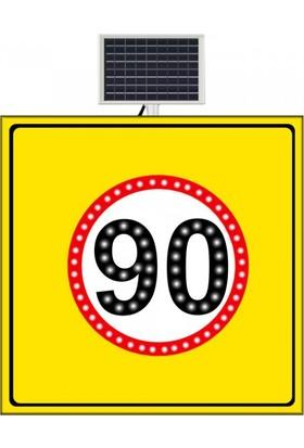 Güneş Enerjili Hız Limiti 90 Km/H Sarı Zemin 1000X1000 Mm