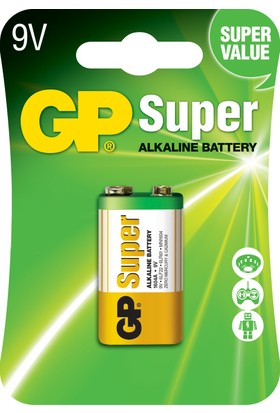 GP Super Alkalin Tekli 9V R8 Pil (GP1604AMTP-2U1)