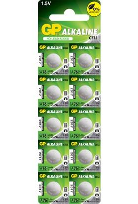GP 10'lu A76 1.5V Alkalin Düğme Pil LR44-AG13 (GPA76F-2C10)