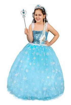 Ek Bebek Elsa Kostümü Kız Çocuk Tarlatanlı Gelinlik Elbise