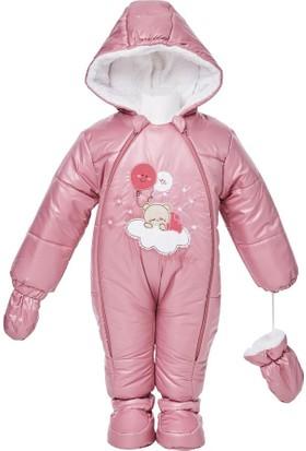 Buude Kız Bebek Astronot Kozmonot Patikli Eldivenli Tulum Gül Kurusu 6509