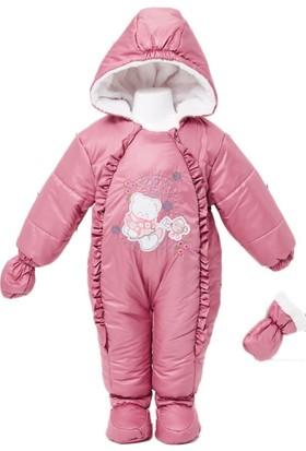 Buude Kız Bebek Astronot Kozmonot Patikli Eldivenli Tulum Gül Kurusu 6519