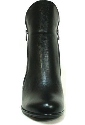 Lucianna Bella 404 Siyah Fermuarlı Topuklu Bayan Bot