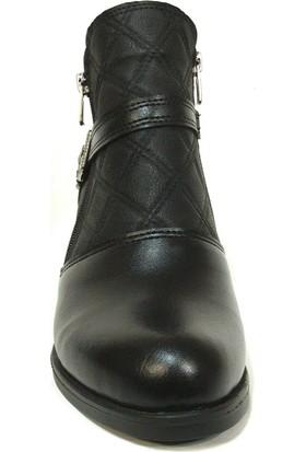 Shoepi 1616 Siyah Fermuarlı Topuklu Bayan Bot