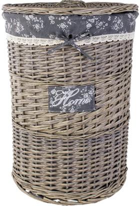 LoveQ Kapaklı Hasır Çamaşır Sepeti (Yuvarlak) 44X58 Cm