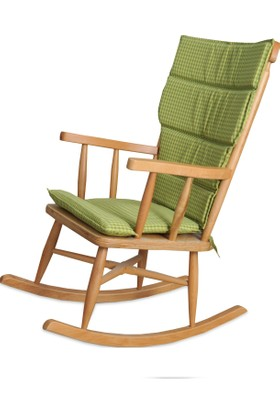 Teksas Yeşil Minderli Naturel Sallanan Sandalye