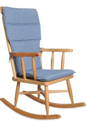 Teksas Mavi Minderli Naturel Sallanan Sandalye