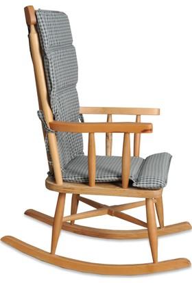 Teksas Gri Minderli Naturel Sallanan Sandalye