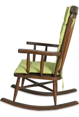 Teksas Yeşil Minderli Ceviz Sallanan Sandalye
