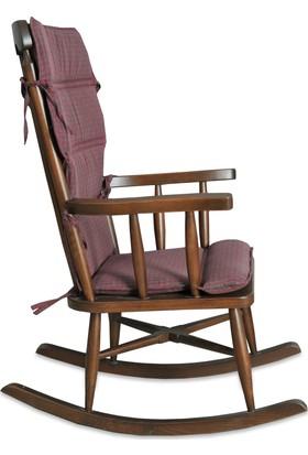 Teksas Bordo Minderli Ceviz Sallanan Sandalye
