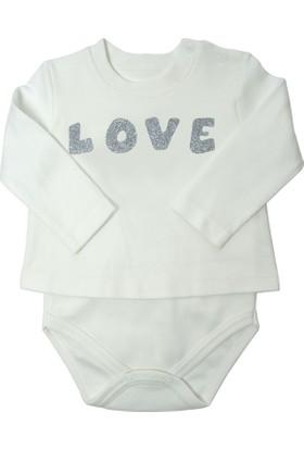 Baby Corner Uzun Kollu Tişört Badi - Gümüş Love