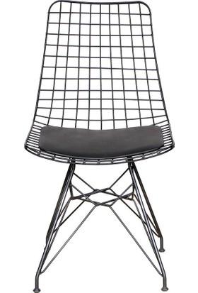 Moon Design Kafes Tel Sandalye Siyah