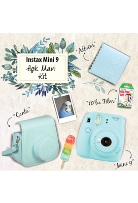Instax Mini 9 Şipşak Fotoğraf Makinesi Set - Ice Blue