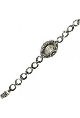 Tevuli 925 Ayar Gümüş Markazit Taşlı Halkalı Sw13774 Kadın Kol Saati