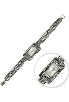Tevuli 925 Ayar Markazit Taşlı Gümüş Sw10001 Kadın Kol Saati