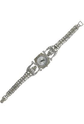 Tevuli 925 Ayar Markazit Taşlı Kaplan Figürlü Gümüş Sw08637 Kadın Kol Saati
