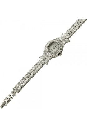 Tevuli 925 Ayar Zirkon Taşlı Yuvarlak Gümüş Sw13785 Kadın Kol Saati