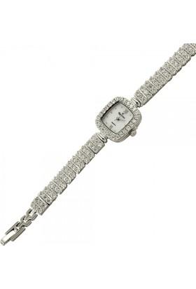 Tevuli 925 Ayar Zirkon Taşlı Kare Gümüş Sw13782 Kadın Kol Saati