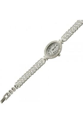 Tevuli 925 Ayar Zirkon Taşlı Oval Gümüş Sw13781 Kadın Kol Saati
