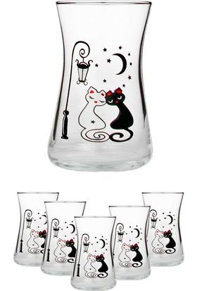 Joy Glass 6'lı Heybeli Çay Bardağı Kedi Desen