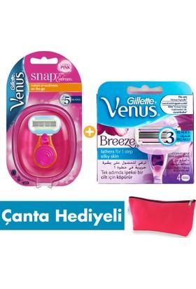 Gillette Venus Embrace Snap Seyahat Boyu Tıraş Paketi (Tıraş Makinesi + 4'lü Tıraş Bıçağı + Seyahat Çantası)