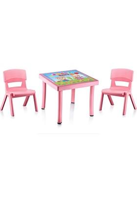 Plastart Çocuk Masası 50 x 50 Desenli + 2 Adet Jumbo Sandalye