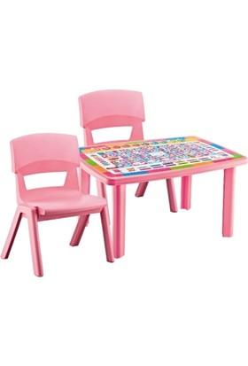 Plastart Desenli Çocuk Masası 70 x 100 + 2 Adet Jumbo Sandalye