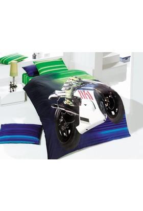 Kupon Tek Kişilik Nevresim Takımı Racing Mavi