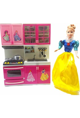 Kılıfkapakdünyası Barbie Bebek Evi İçin Mutfak Set Prenses Kız Oyuncak