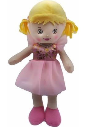 Kılıfkapakdünyası Oyuncak Bez Bebek 30 cm Evcilik Oyuncakları Kız Tütü Prenses Bebek Pembe