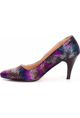 Erbilden Erb Yılan Derisi Desenli Renkli Bayan Topuklu Ayakkabı