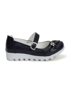 Erbilden Papi Siyah Cilt Tokalı, Kemerli Çocuk Babet Ayakkabı