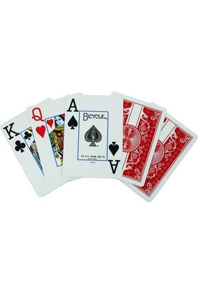 Bilardoavm Bicycle Jumbo Poker İskambil Oyun Kağıdı (2 Tarafı Yazılı Oyun Kartı Kırmızı)