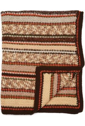 Momandkash Kahverengi Çizgili Battaniyeler