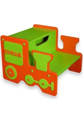 Küçük İşler Ahşap Atölyesi Çocuklar İçin Basamak Yeşil - Turuncu