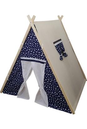 JanBebe Büyük Boy Pamuk Ahşap Çocuk Oyun Çadırı Çadır Oyun Evi Doğal Ağaç Klasik Mavi Yıldızlı