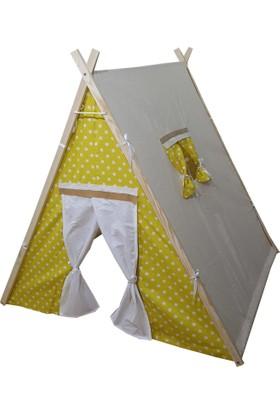 JanBebe Pamuk Ahşap Çocuk Oyun Çadırı Büyük Boy Sarı Yıldız