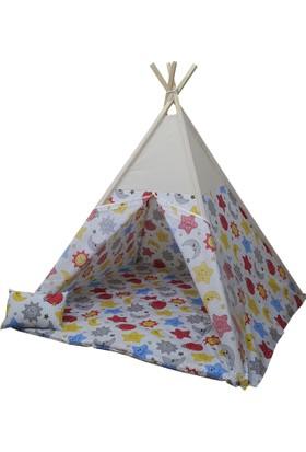 JanBebe Minderli Pamuk Ahşap Çocuk Kızılderili Oyun Çadırı Beyaz
