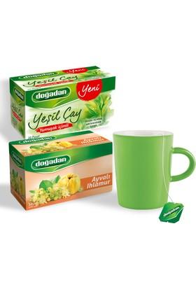 Doğadan Ayvalı Ihlamur ve Yumuşak İçimli Yeşil Çay Paketi (Kupa Yanında)