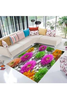 Jungle Halı Trend Renkli Çiçek Dekoratif 3 Boyutlu Tasarım Halı