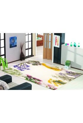 Jungle Halı Trend Koleksiyon Renkli Çiçekler 3 Boyutlu Tasarım Halı