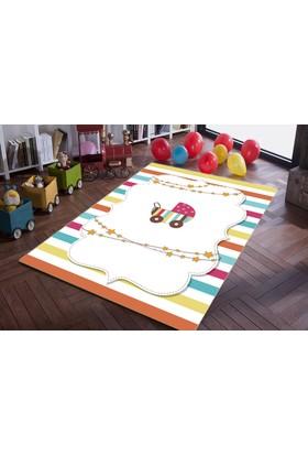 Jungle Halı Rengarenk Bebek Arabası Desenli Bebek Odası Halısı