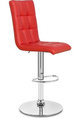 Duru Base Kırmızı Bar Koltuğu - Metal Ayaklı - Tabure - Sandalye