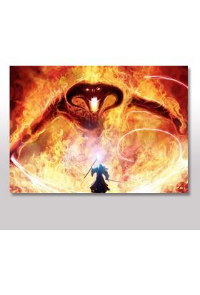 Tablomega Ahşap Tablo Balrog Ve Gandalf Yüzüklerin Efendisi 25x35 Cm