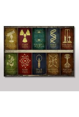 Tablomega Ahşap Tablo Newton Tesla Einstein Fizik Ve Kimya 25x35 Cm